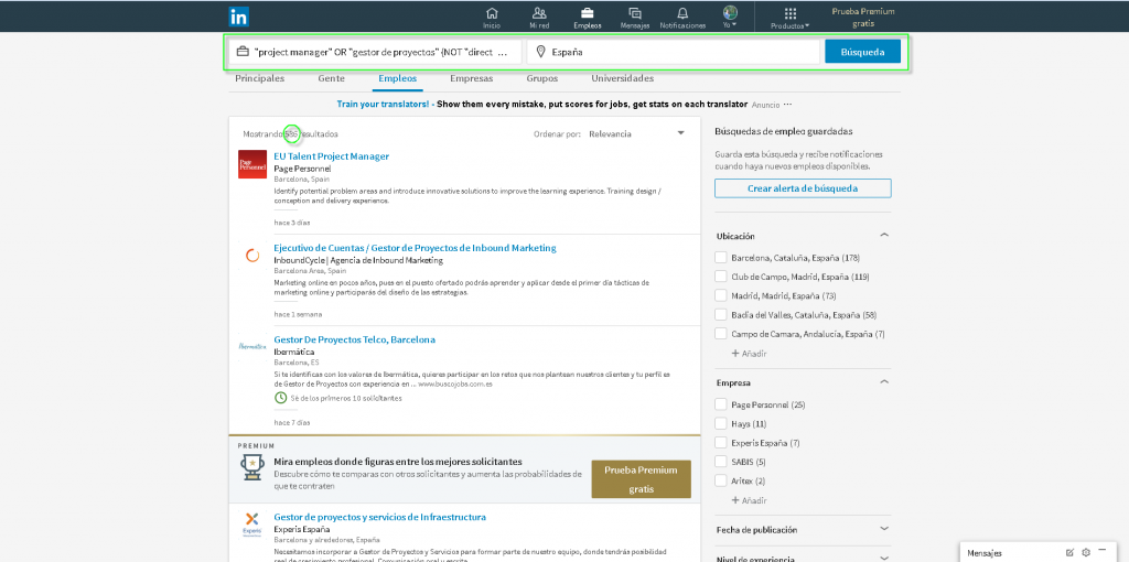 Screenshot filtro project manager LinkedIN